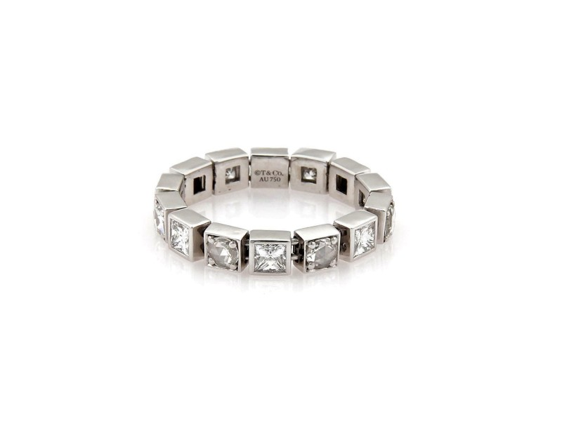 Tiffany & Co. 1.75ct Rose & Princess Cut Diamond 18k WGold Flex Band Ring Size8
