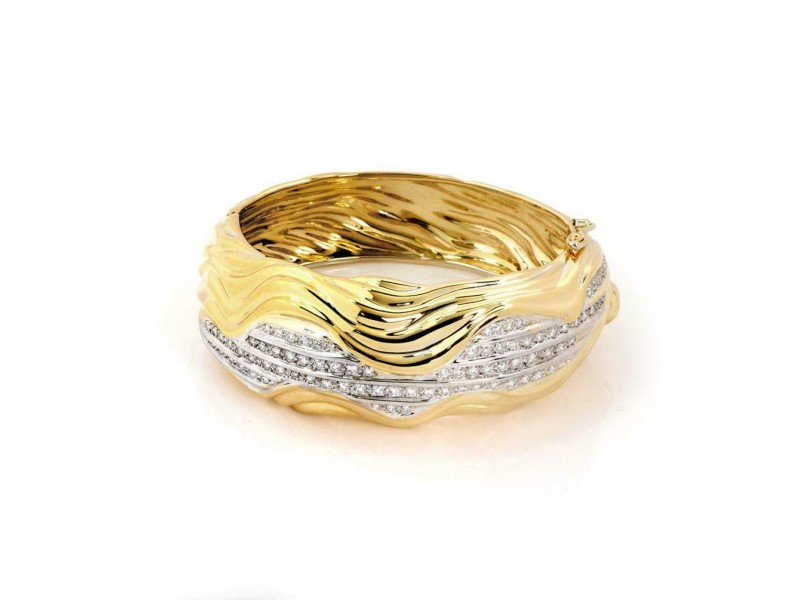 Sal Praschnik 2.5ct Diamond 18k Two Tone Gold Wide Wave Dome Bracelet
