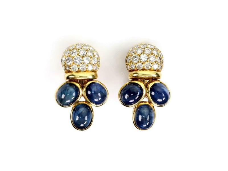 Giovane 16.50ct Diamond & Sapphire 18k Yellow Gold Fancy Clip On Earrings