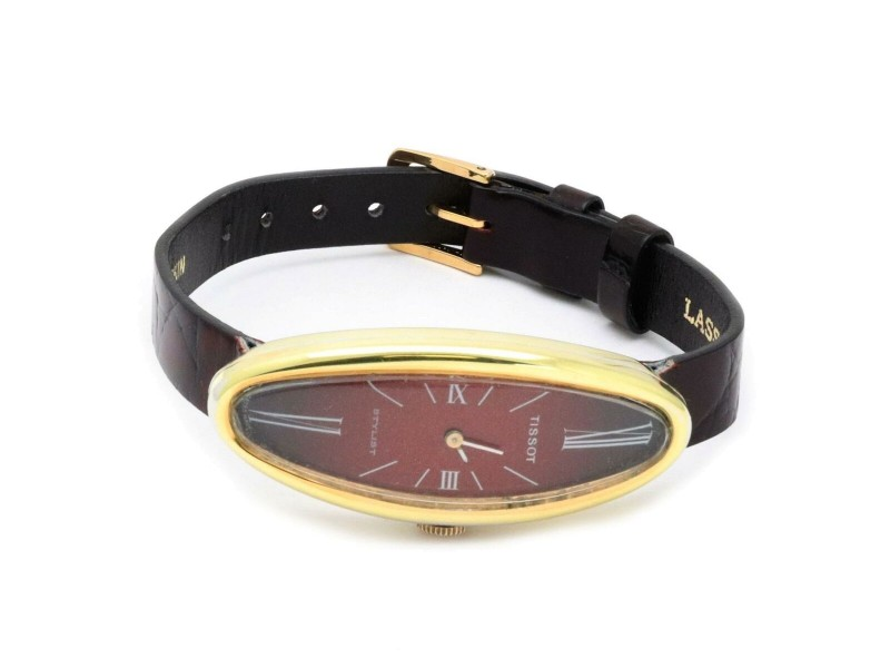 Tissot Stylist 18k Gold Case Hand Winding Oval Leather Band Ladies Watch