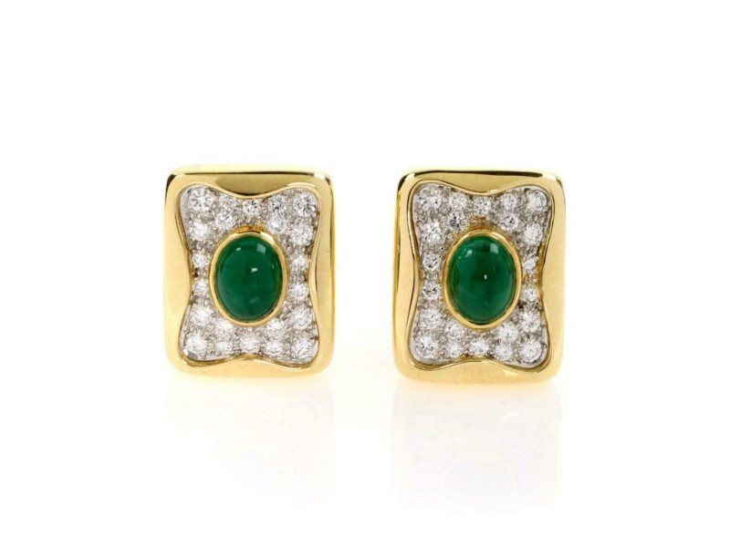 Estate 10.00ct Diamond & Emerald Rectangular Huggie Post Clip Earrings