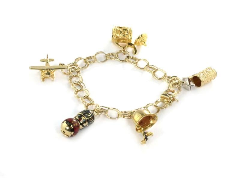 Vintage 14k Two Tone Gold Moveable Enamel 5 Charms Triple Ring Link Bracelet