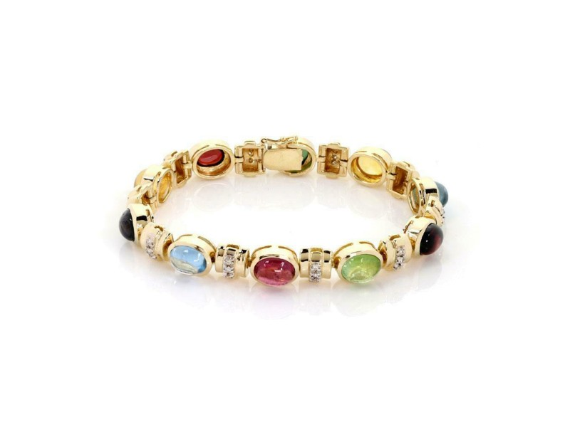 Estate 30.30ct Diamond & Gems 14k Yellow Gold Oval Link Bracelet