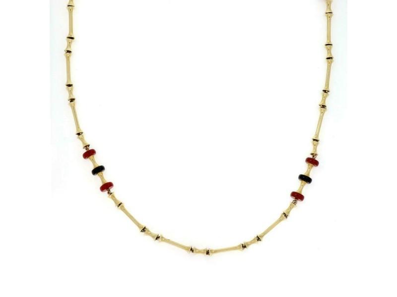 "Vintage Onyx Carnelian 14k Yellow Gold Fancy Bar Link Necklace 38"" Long"