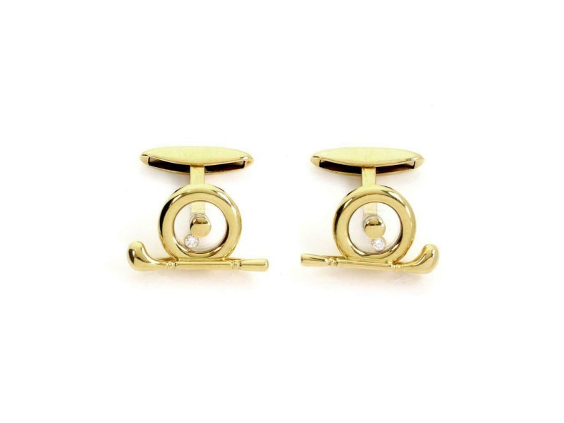 Chopard Happy Diamond 18k Yellow Gold Golf Club Stud Cufflinks