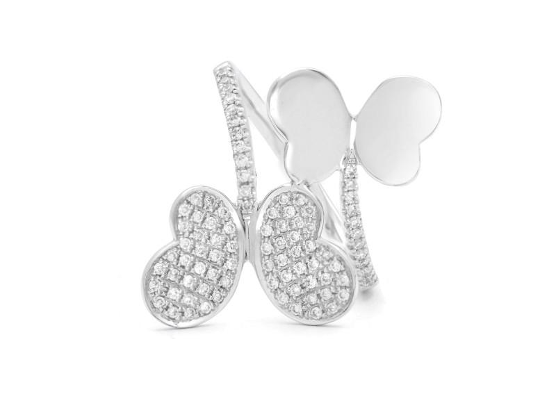 18K White Gold Diamond Criss Cross Butterfly Ring Size 6.75 0.44cttw