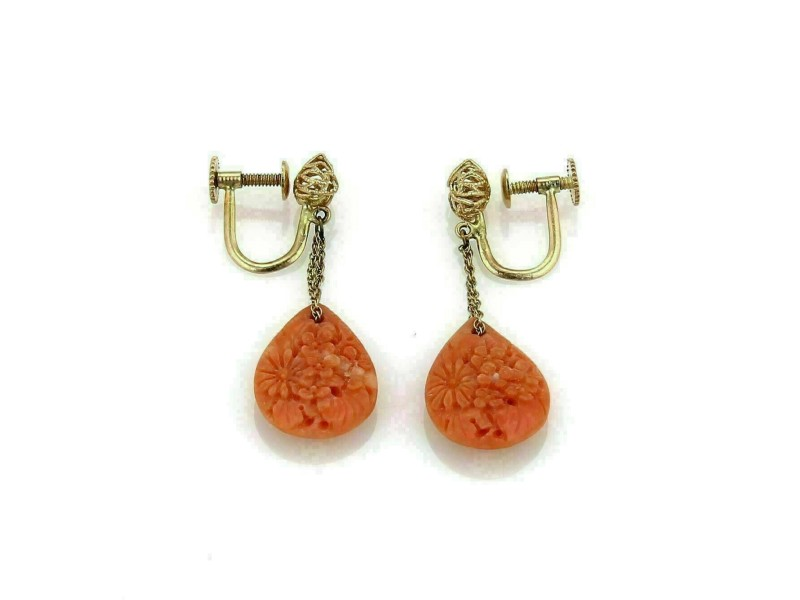 Antique 14k Yellow Gold Carved Coral Floral Drop Dangle Earrings Screw Back