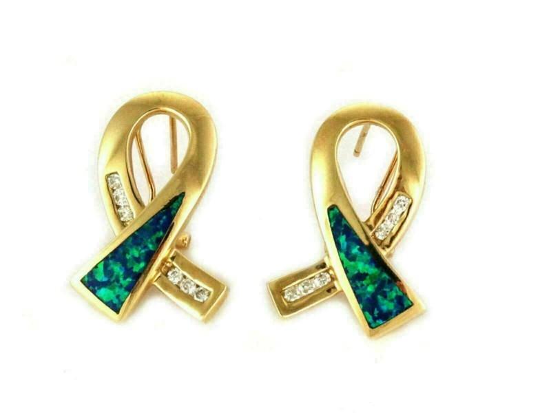 Diamond & Opal 14k Yellow Gold Ribbon Loop Post Clip Earrings