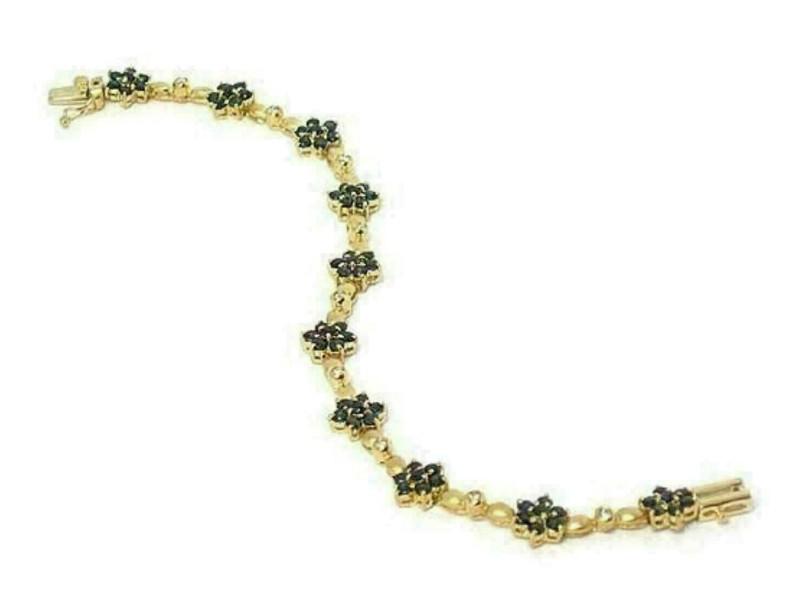 Sapphire & Diamond Floral 14k Yellow Gold Bracelet