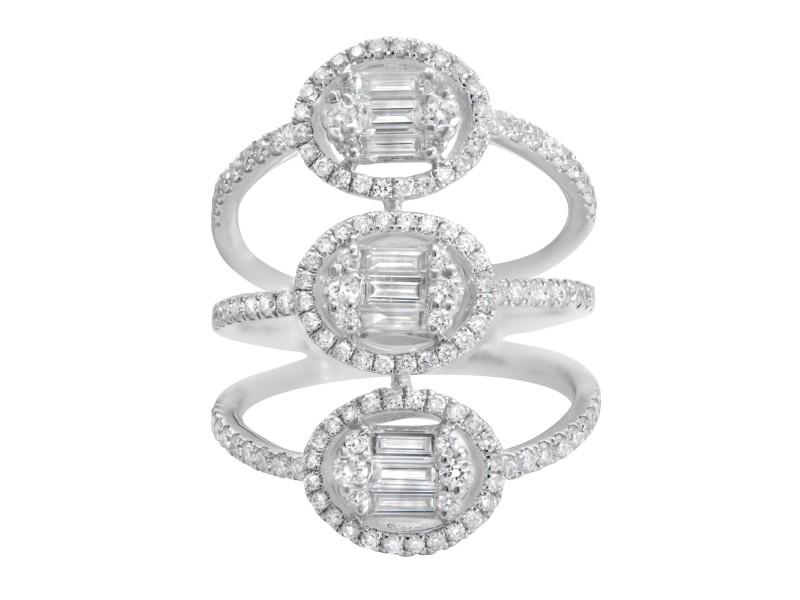 Rachel Koen 18K White Gold Three Row Diamond Cocktail Ring 1.14Cttw Size 6.5