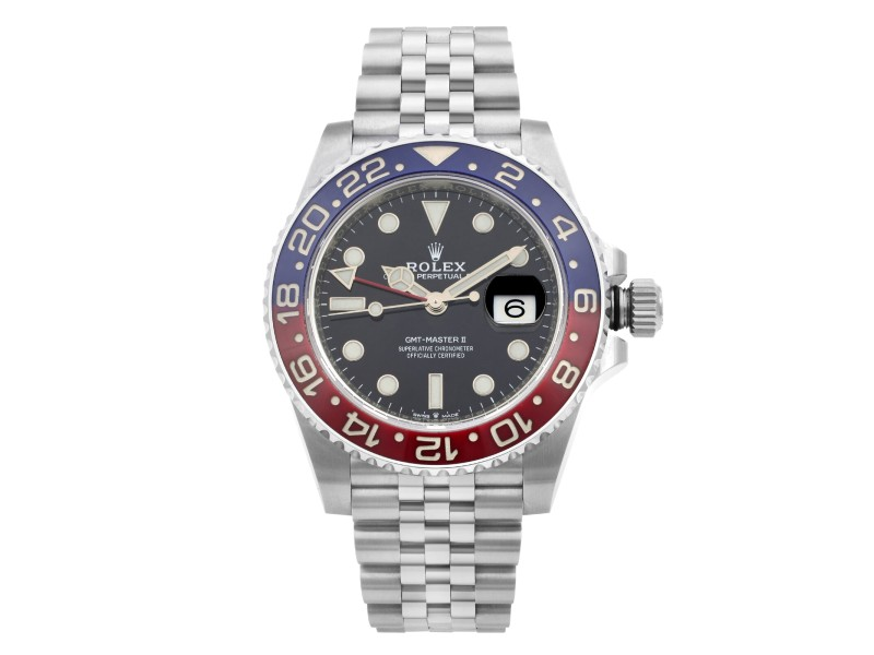 Rolex GMT-Master II 40mm Steel Ceramic Pepsi Black Dial Mens Watch 126710BLRO