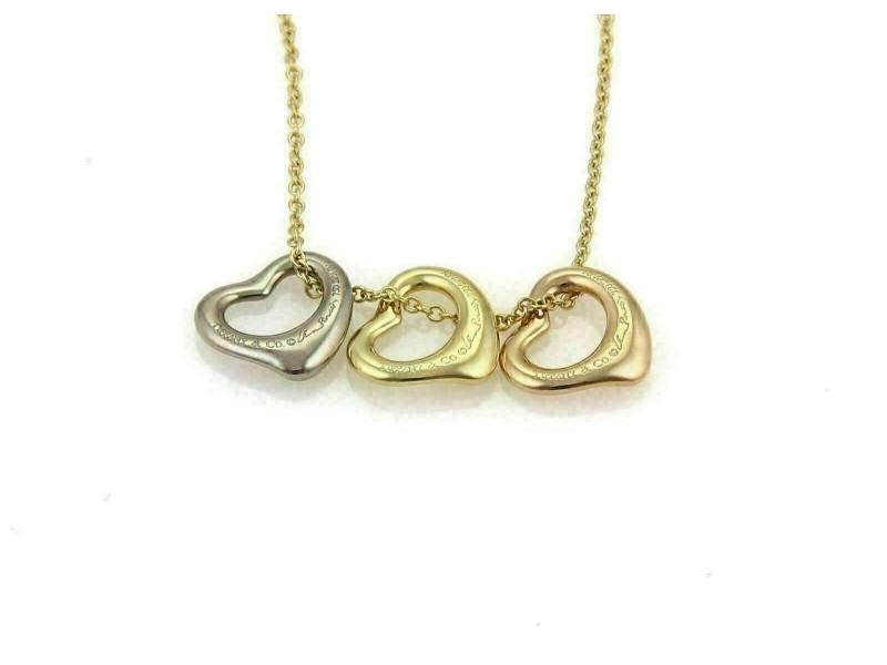 Tiffany & Co. Peretti 18k Tri-Color Gold Triple Open Hearts Necklace