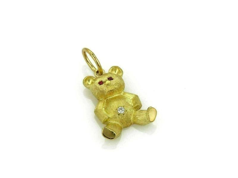 Estate Diamond & Ruby 18k Yellow Gold Bear Charm Pendant
