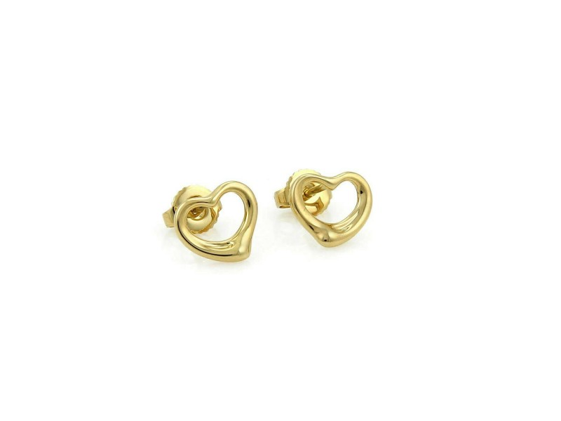 Tiffany & Co. Peretti Open Heart 18k Yellow Gold Stud Earrings