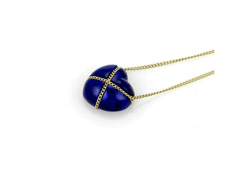 Tiffany & Co. 18k Yellow Gold & Lapis Heart Pendant Necklace