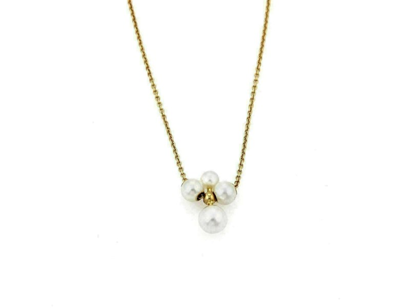 Mikimoto Pearls 18k Yellow Gold Pendant & Chain Necklace
