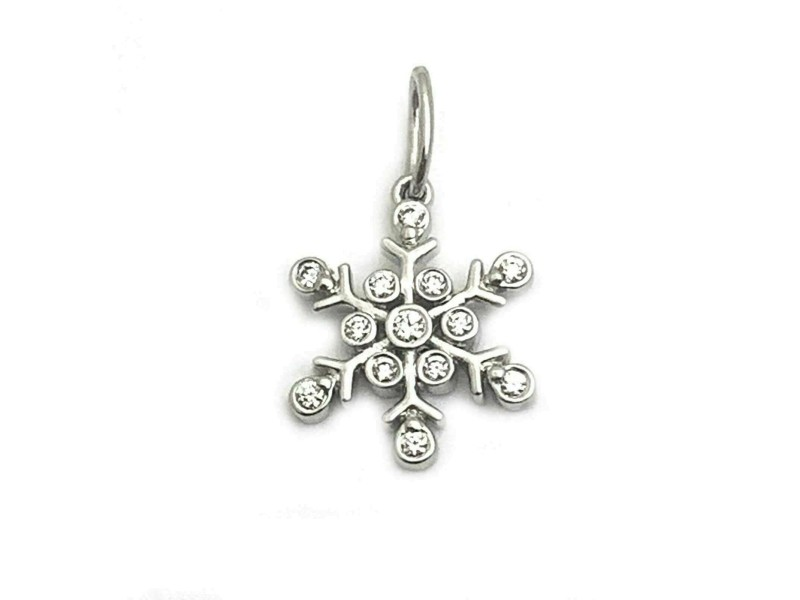 Tiffany & Co. Diamond Platinum Mini Snowflake Charm Pendant