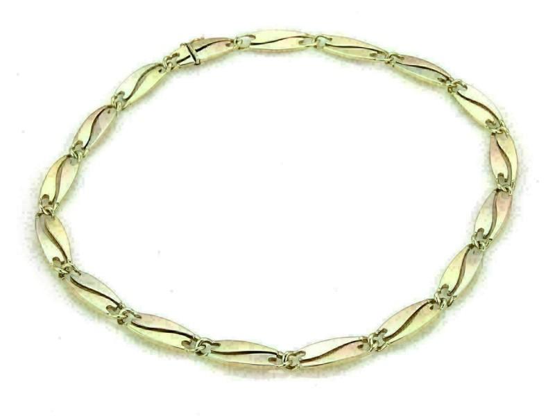 Quadri Gioielli 18k Tri-Color Gold Fancy Long Curved Link Collar Necklace