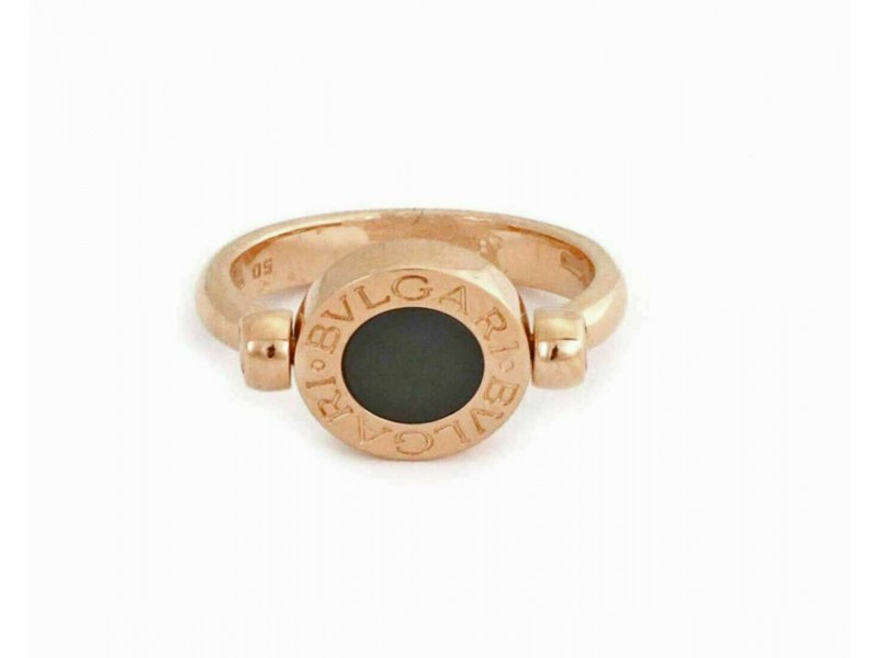 Bvlgari Onyx & Mother of Pearl 18k Yellow Gold Flip Disc Ring Size 50