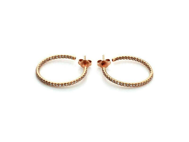 Roberto Coin 0.66ct Diamond 18k Rose Gold Inside Out Hoop Earrings