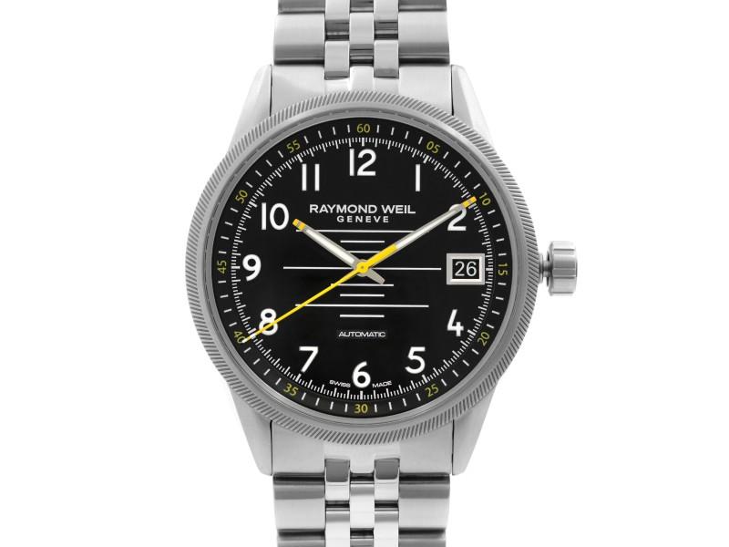 Raymond Weil Freelancer 42mm Steel Black Dial Automatic Mens Watch 2754-ST-05200