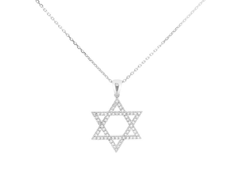 Rachel Koen 14K White Gold Jewish Star Of David Diamond Necklace 0.51cttw