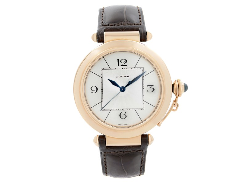 Cartier Pasha 42mm 18K Rose Gold Silver Dial Automatic Mens Watch W3019351
