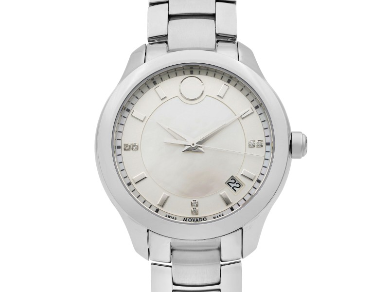 Movado Bellina Stainless Steel White MOP Dial Quartz Ladies Watch 0606978