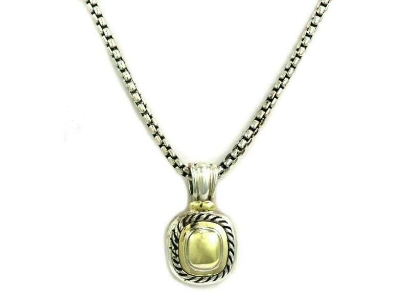 David Yurman Albion Sterling Silver 14k Yellow Gold Pendant & Chain