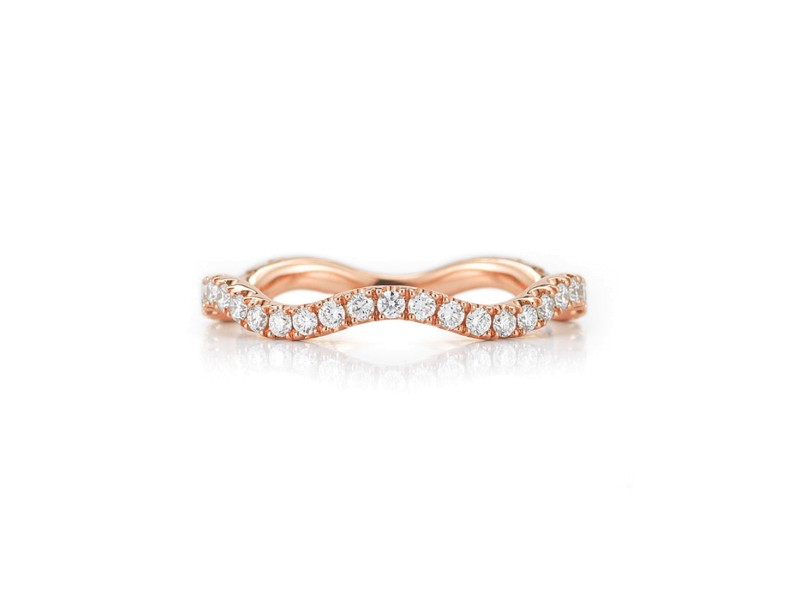 Kwiat 18k Rose Gold Wedding Ring From The Wave Collection Size 5.75