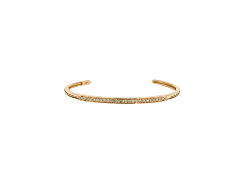14K Rose Gold White Diamond Stick Cuff