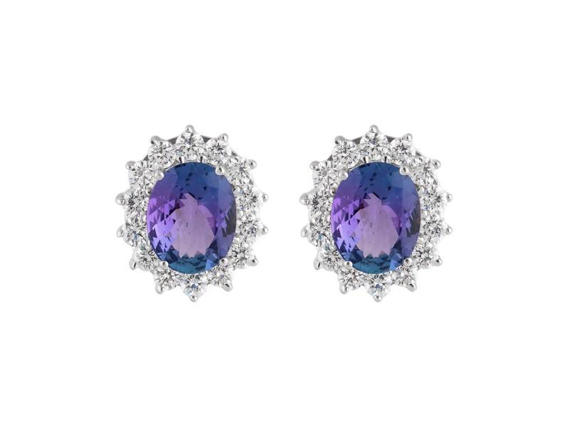 18k White Gold Diamond And Tanzanite Earrings