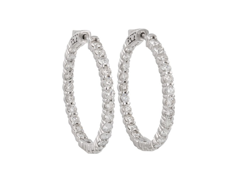 14k White Gold Diamonds Earrings