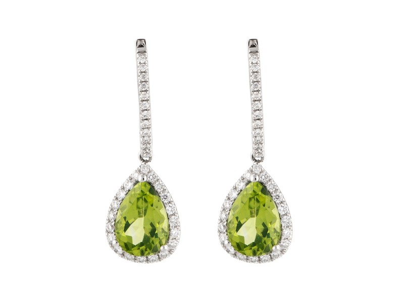 14k White Gold Diamond And Peridot Earrings