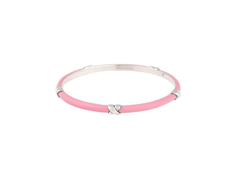 Tiffany & Co. Sterling Silver & Pink Enamel Bangle Bracelet