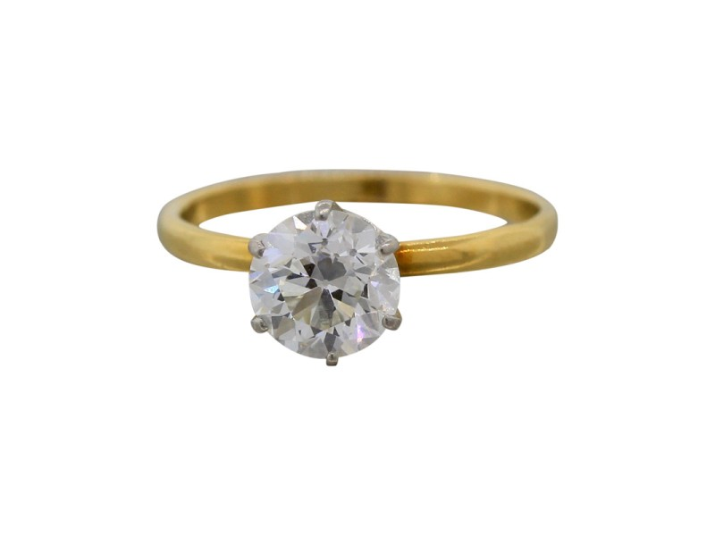 Tiffany & Co. Trans Brilliant 1.09ct Diamond Yellow Gold Wedding Engagement Ring Size 4.5