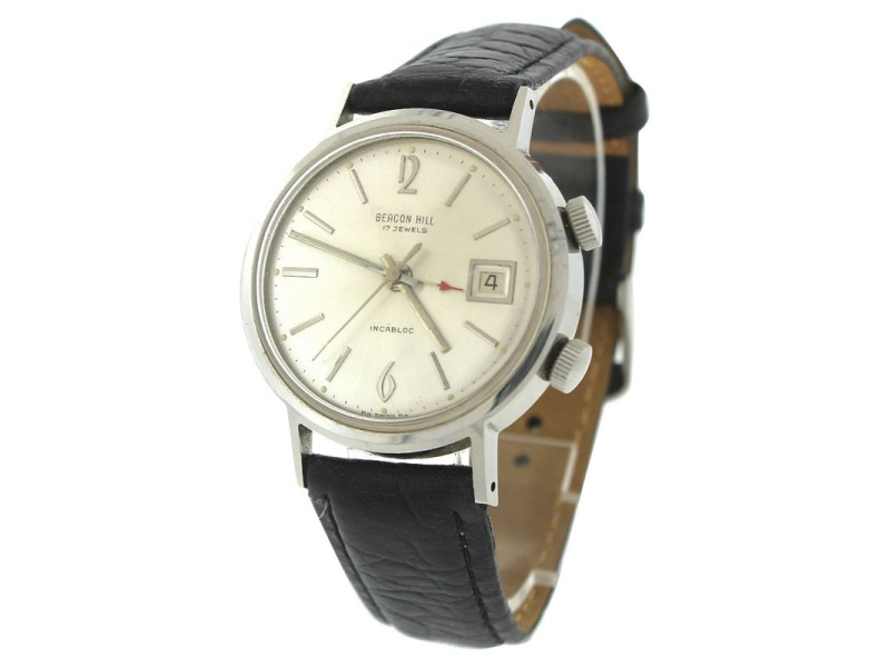 Beacon Hill Incabloc Teriam 17-Jewel Date Alarm Stainless Leather Vintage Watch