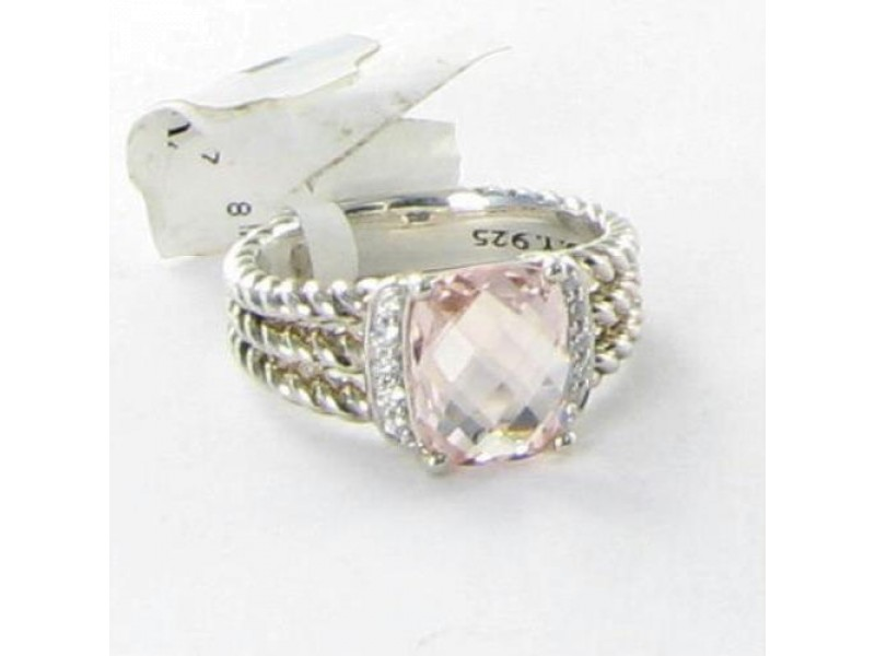 David Yurman Petite Wheaton Diamonds Morganite 925 Ring