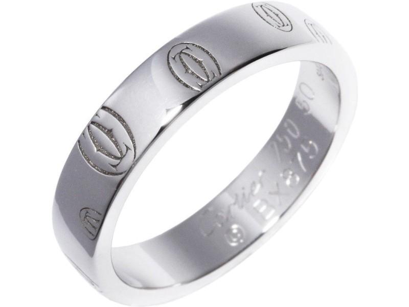 Cartier Happy Birthday 18k White Gold Ring Size 5.25