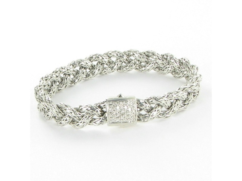 John Hardy Classic Chain 925 Sterling Silver with 0.42ctw Diamonds Braided Bracelet