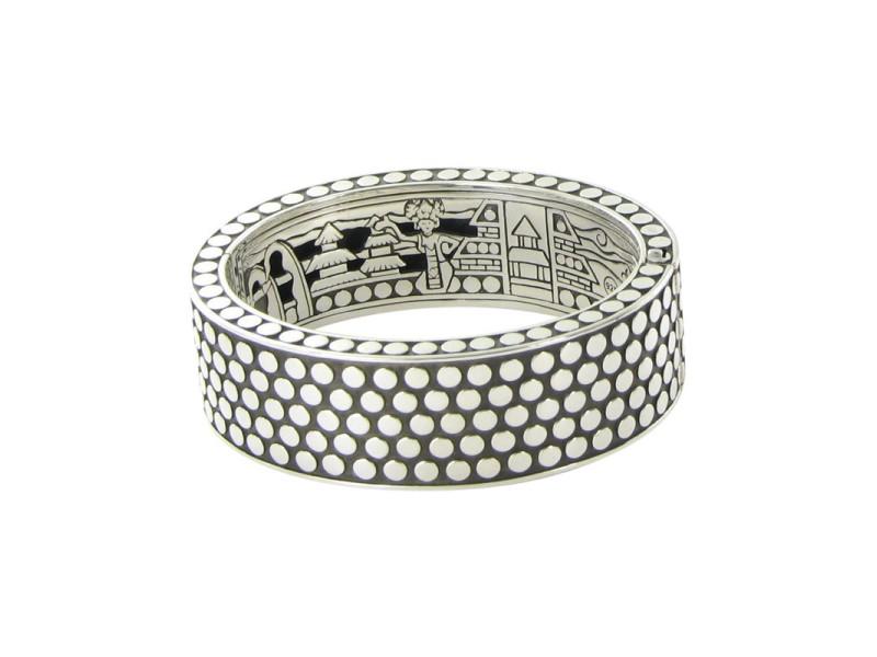 John Hardy Dot 925 Sterling Silver Rectangular Hinged Bangle Bracelet
