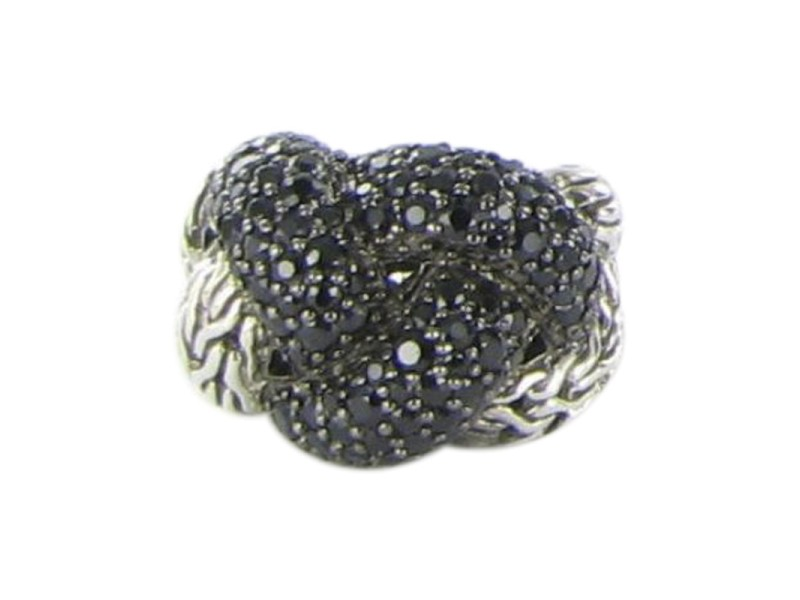 John Hardy Classic Chain Lava 925 Sterling Silver with Braided Black Sapphire Ring Size 7