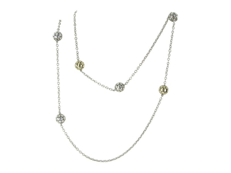 John Hardy Dot 18K Yellow Gold and 925 Sterling Silver Bead Necklace