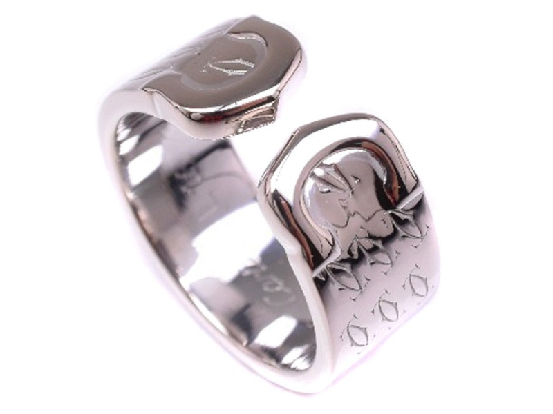 Cartier C2 Ring 18K White Gold Size 4.75