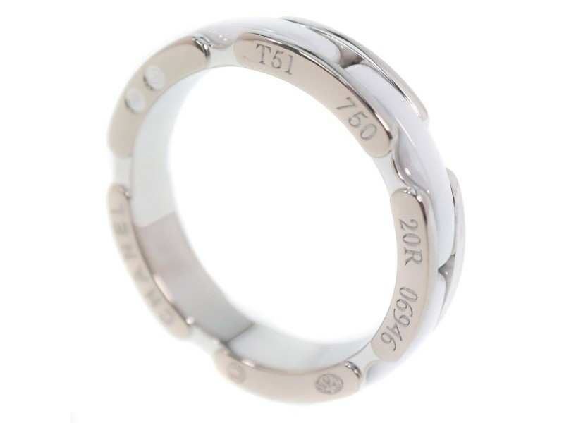Chanel 18K White Gold with White Ceramic Ultra Ring Size 5.25