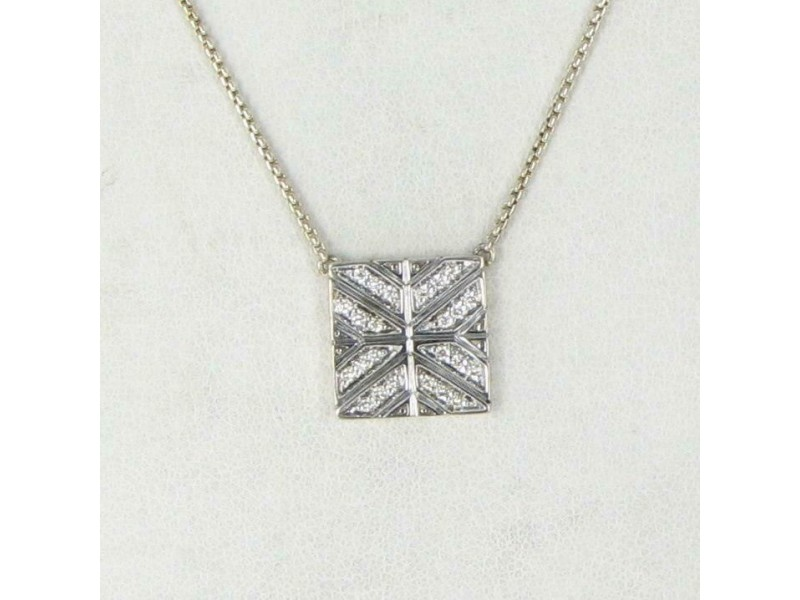 "John Hardy Modern Chain Necklace Diamond 0.19cts Pendant 18"" Sterling Silver"