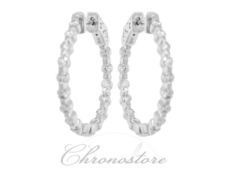 Rachel Koen Ladies Diamond Hoop Earrings 1.60cts in 14K White Gold