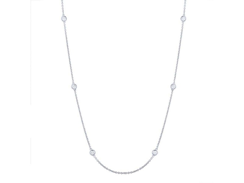 Rachel Koen 14K White Gold Diamonds 0.77cttw by the Yard 18 Inch Necklace