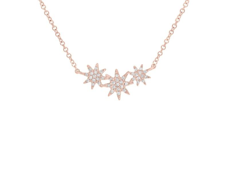 14K Rose Gold Pave Diamond 0.09cts Mini Stars 17 Inch Necklace