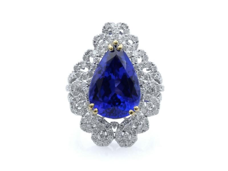 Rachel Koen 18K White Gold Pear Shape Blue Tanzanite Diamond Ring 2.10 Cttw